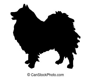 The black silhouette of a German Spitz