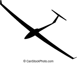 The black silhouette of a glider is not a white background. Vector illustration