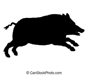 The black silhouette of a running wild pig on white