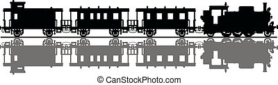 The black silhouette of old steam train