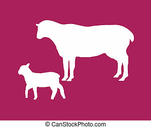The black silhouettes of a sheep and a lamb on mauve