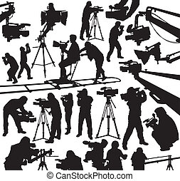 the black silhouettes of different camcorders and cameramen on white background