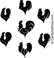 The black stylized cocks on a white