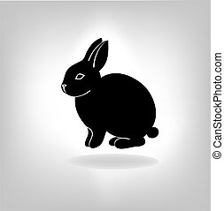 the black stylized silhouette of a rabbit