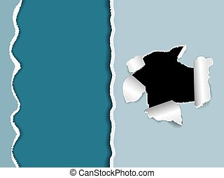 The black torn hole in a white paper - Torn paper, a hole in...