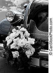The black wedding automobile