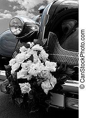 The black wedding automobile