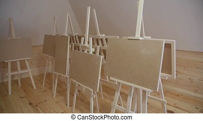 The Blank Canvases - The blank canvases on new easels in ...