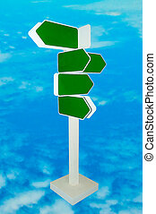 The Blank direction of signpost isolated on blue sky background