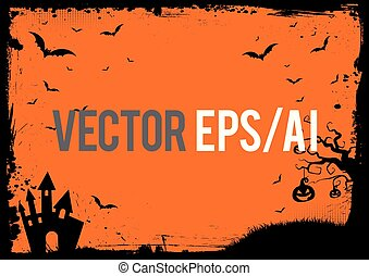 Halloween banner background with grunge border