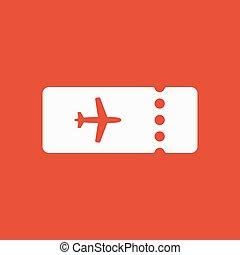 The blank ticket plane icon. Travel symbol. Flat