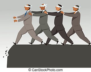 Group of blindfolded businessman follow each other to the cliff, vector illustration