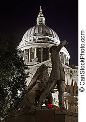 The Blitz Firefighters Memorial and St. Paul's Cathedral in...