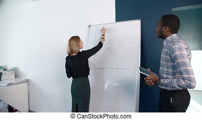 The blond businesswoman presents the plan to her afroamerican male colleague.