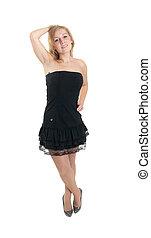 the blonde in a black dress