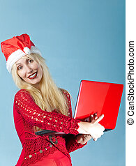 The blonde in a New Year's hat and with the red laptop