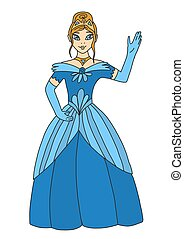 The blonde princess in a crown and a blue luxurious dress welcomes her subjects. The queen waves her hand. The daughter of the king and queen. Vector illustration in cartoon style.