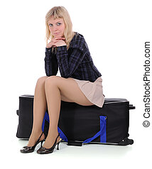 The blonde Sitting On Suitcase
