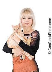 The blonde with a red cat