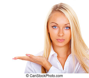 The blonde with blue eyes advertises