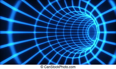 The blue abstract 3d tunnel from a grid. Loop.