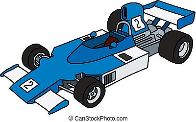 The blue and white racecar - The vectorized hand drawing of...