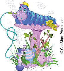 The Blue Caterpillar using a hookah
