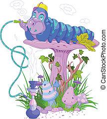 The Blue Caterpillar using a hookah