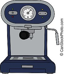 The blue electric espresso maker