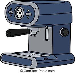 The blue electric espresso maker