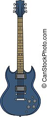 The blue electric guitar