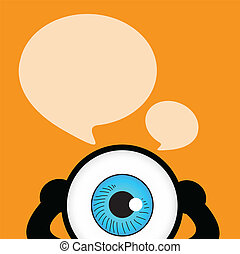 The blue eye talk with bubble quote