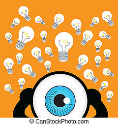 The blue eye thinking with idea