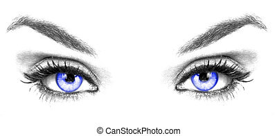 close up of a blue eyes on white background