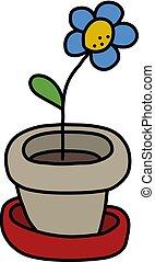 The blue flower in a flowerpot