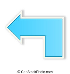 glossy arrow - the blue glossy arrow with subtle shadow