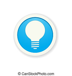 the blue glossy circle button with bulb pictogram