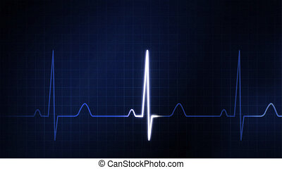 The blue graphic of EKG monitor - The graphic of EKG monitor...
