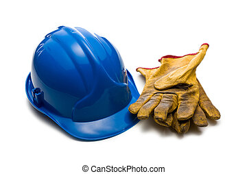 the blue hardhat and leather working gloves