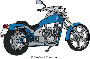 The blue heavy motorcycle