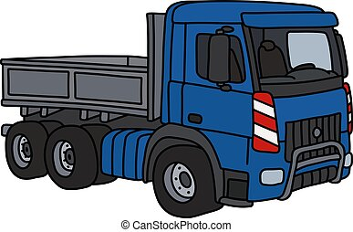 The blue heavy truck