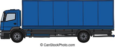 The blue long cargo truck