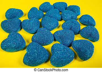 blue marmalade on a yellow background, layout