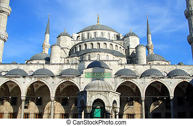 The Blue Mosque in Istanbul seen from internal yard