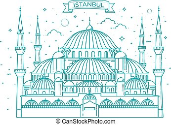 The Blue Mosque, Istanbul, Turkey. Vector illustration.
