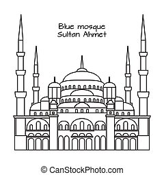 The Blue Mosque, Sultanahmet Camii, Istanbul, Turkey, middle east islamic architecture outline