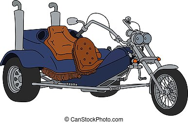 The blue motor tricycle - The hand drawing of a blue heavy...