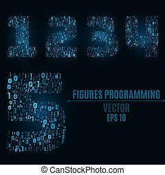 The blue numbers of the symbols and the programming elements. Numbers 1, 2, 3, 4, 5. Light glow. Binary code. Vector illustration. EPS 10