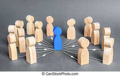 The blue person is connected with employees by wide network of lines. At the center of a complex large system. Communication social. Cooperation, collaboration. Project leadership personnel management