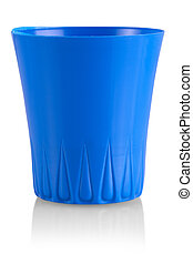 The Blue Plastic Cup isolated on white with a clipping path.